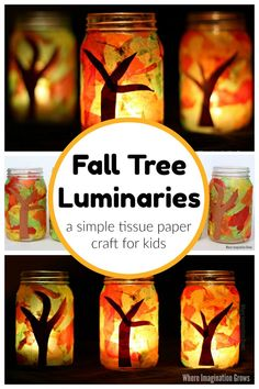 Mason jar fall tree luminaries craft for kids (and adults)! An easy tissue paper craft that toddlers and preschoolers will love! Such a simple fall craft that will be a treasured family keepsake for your autumn or Thanksgiving table! #fallcrafts #fallcraft #masonjarcraft #kidscrafts #masonjar Cheap Fall Crafts For Kids, Easy Fall Crafts, Autumn Activities For Kids, Easy Arts And Crafts, Paper Crafts For Kids, Craft Projects For Kids, Craft Kits, Preschool Crafts, Autumn Crafts For Adults