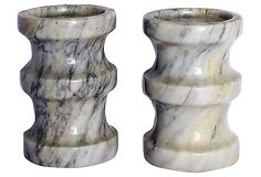 1960s Solid Marble Candleholders