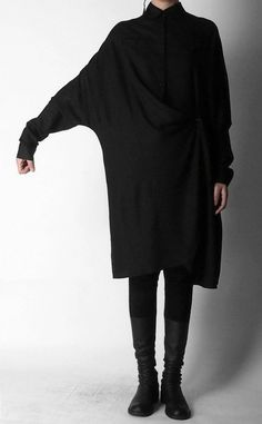 Crepe Tunic Dress Long Sleeve Loose Waist Oversized Irregular Split Shirt
