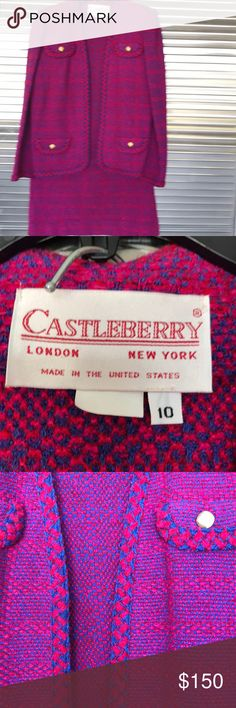 Castle berry suit This lovely Casselberry suit and fuchsia red and blue is a vintage piece of highest quality. The suits start at retail prices of $1700 for a suit. The jackets alone or $1300 castleberry Jackets & Coats