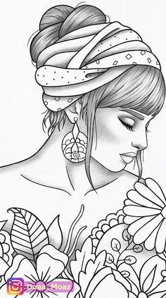 Adult coloring page girl portrait and clothes colouring sheet fashion pdf printable anti-stress relaxing zentangle line art Coloring Book Art, Cute Coloring Pages, Printable Coloring Pages, Adult Coloring, Free Coloring, Coloring Sheets, Pencil Art Drawings, Art Drawings Sketches, Easy Drawings