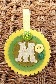 Felt Scalloped Keyring With Glitter fabric initial M £3.45