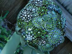 Shades of Green & Silver Brooch Bouquet