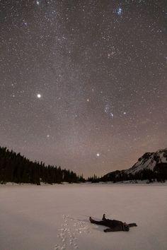 Jupiter lighting up the winter sky, Jefferson Park, Oregon.
