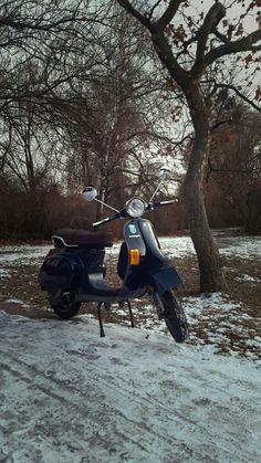 own vespa pk 50 XL in the nature #love my #vespa #scooter #nature #winter