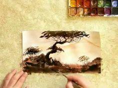 Акварель.Создание миниатюры в восточном стиле. Часть2 Watercolor Video, Watercolor Landscape, Watercolor Art, Moose Art, Painting Tutorials, Forests, Trees, Leaves, Youtube