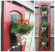 Could customize for any season. Panel is chalkbo… Cabinet Door Christmas Decor! Could customize for any season. Panel is chalkboard for more fun :) Made by Cabinet Doors & More in Fordsville, KY - Door Cabinet Door Crafts, Diy Cabinet Doors, Cupboard Doors, Repurposed Furniture, Diy Furniture, Repurposed Doors, Christmas Crafts, Christmas Decorations, Xmas