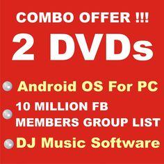 2 DVD - Combo - Android OS+10 MILLION Facebook Members Group List + DJ Software