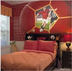 soccer themed bedroom | should probably say football themed room ...