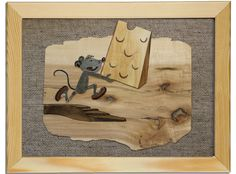 Handmade Picture kids room Mouse Cartoon collage wood marquetry sackcloth