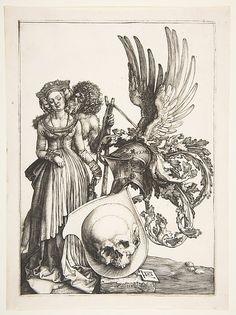 Coat of Arms with a Skull, Albrecht Dürer (German, Nuremberg 1471–1528 Nuremberg), Engraving
