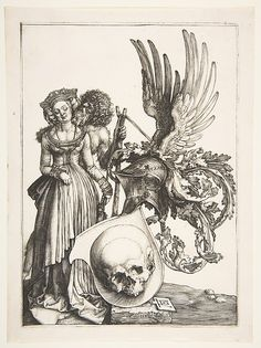 In this stunning engraving, Dürer recast the theme of memento mori in a brilliantly unusual form. The woman in patrician dress is identified by her crown as a bride, but the person who embraces her from behind is a wild man