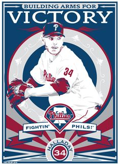 Roy Halladay of the Philadelphia Phillies. Hand made screen print, limited edition of 200. Signed, dated and individually numbered. Officially licensed by Major League Baseball. Art by Chris Speakman. $50