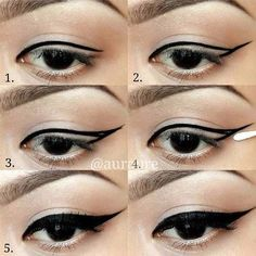 Winged Eyeliner Tutorials - Useful! How To Draw Perfect Eyeliners- Easy Step By Step Tutorials For Beginners and Hacks Using Tape and a Spoon, Liquid Liner, Thing Pencil Tricks and Awesome Guides for Hooded Eyes - Short Video Tutorial for Perfect Simple Dramatic Looks - thegoddess.com/winged-eyeliner-tutorials
