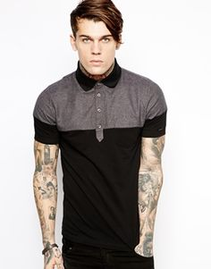 Two Tone polo black and grey