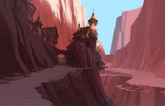 Red cliff Picture  (2d, fantasy, village, mountains, landscape)