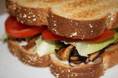 Vegan Shitake Mushroom Bacon, Lettuce, Tomato,  Avocado Sandwich Recipe