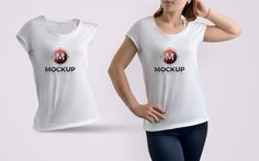 Girl Wearing T-Shirt Free Mockup. Stunning and fabulous t-shirt mockup which is perfect to showcase your designs via smart-object layer.