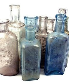 I collect vintage medicine bottles. Old Medicine Bottles, Antique Glass Bottles, Bottles And Jars, Glass Jars, Mason Jars, Vintage Perfume Bottles, Vintage Bottles, Vintage Glassware, Art Antique