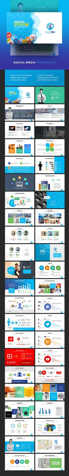 Social Media PowerPoint for Social Marketing & Promotion Social Marketing, Business Marketing, Social Business, Corporate Design, Pictures Images, Presentation Templates, Promotion