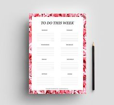 Printable to do list for the week - Digital download. This gorgeous printable to do list will help you schedule your week. There are no dates written on this planner, so you can use it over and