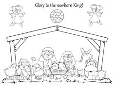 Love this Christmas Nativity coloring page