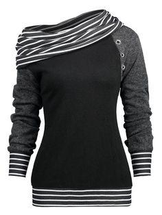 Vintage Cloak Cowl Neck Sweat-Shirt A-Line Tunic Long Sleeve Dress Top for Women with Buckle Strap Hemline