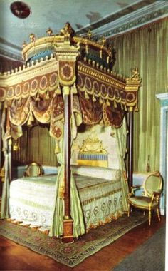 A bed designed by Robert Adam as a Temple of Venus, c. 1775-76. Located in the State Bedchamber at Osterley