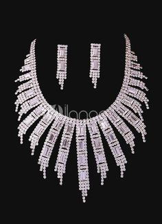 Fashion Rhinestone White Jewelry Set For Bridal. Earrings Size 4.5*1 cmPendant Size 8*1 cmChain Length 38-43 cm. See More Wedding Jewelry Sets at http://www.ourgreatshop.com/Wedding-Jewelry-Sets-C924.aspx
