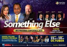 It Is Here!!!  Something Else International Conference Is Happening Today...  Opening Session Begins By 6pm Today @ Gospel Pillars Church Coliseum, Plot 11C Kudirat Abiola Way, Alausa, Ikeja, Lagos, Nigeria.  Your Appointment With Destiny Is Here!!!  #drisaiahwealth #somethingelseconference2018 #somethingelse #conference Gospel For Today, Upcoming Events, Destiny, Wealth, Conference, Shit Happens, October