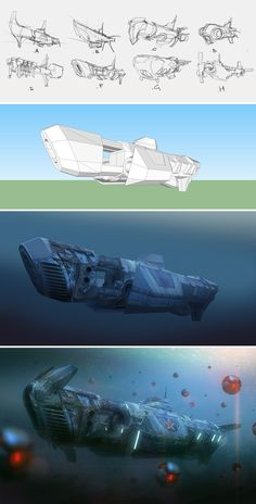 Painting Techniques: Volume 5 Learn how to create a submarine in SketchUp with Carlos CabreraLearn how to create a submarine in SketchUp with Carlos Cabrera Spaceship Concept, Concept Ships, Concept Art, Digital Painting Tutorials, Digital Paintings, Drawing Tutorials, Drawing Tips, Space Fantasy, Fantasy Artwork