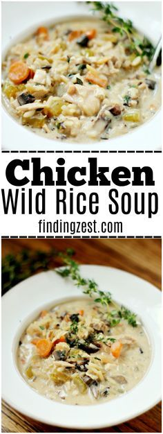 you ever tried making chicken wild rice soup? Get this delicious recipe for homemade Chicken and Wild Rice Soup. Use leftover rotisserie chicken to cut down on cooking time. This creamy soup is the perfect way to warm up on a cold day! Wild Rice Recipes, Rice Recipes For Dinner, Healthy Recipes, Easy Recipes, Healthy Soups, Rotisserie Chicken Soup, Chicken Wild Rice Soup, Long Grain Wild Rice Recipe, Quinoa