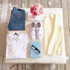 """Sunshine stripes & denim #stripes #denim #outfit"""