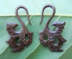 Pair Carved Organic Tribal Coconut shell Wood Ear Spiral Swan Hook Plugs Gauges on Etsy, $15.01 CAD