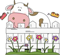 cute cowr Clip Art | Cow Behind a Fence Clip Art Image - cute white cow with brown spots ...