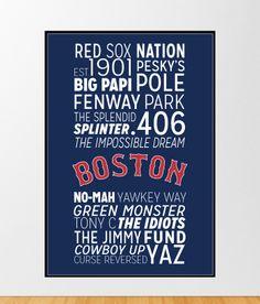 Boston Red Sox Poster https://www.etsy.com/listing/166637069/boston-red-sox-print