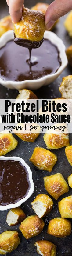 These vegan pretzels with chocolate sauce are the ultimate comfort food! If you like the combination of sweet and salty food, you will absolutely LOVE them. They make the perfect vegan party food or vegan dessert!