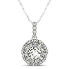 Round Cut Double Halo Diamond Pendant Necklace 14k White Gold (1.25ct)-diamond jewelry, diamond necklace, diamond bridal jewelry, diamond bridal necklace, diamond wedding jewelry, diamond wedding necklace, fine jewelry, ladies fine jewelry, women's fine jewelry, ladies diamond jewelry, ladies diamond necklace, women's diamond jewelry, women's diamond necklace, diamond bridal gifts, diamond necklace designs, diamond jewelry designs, bridal jewelry necklace, bridal jewelry wedding, allyson…