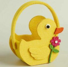 of my favorite discoveries at : Mini Duck Felt Easter Basket, Set of 2 Foam Sheet Crafts, Foam Crafts, Diy And Crafts, Paper Crafts, Basket Crafts, Easter Crafts For Kids, Felt Ornaments, Easter Baskets, Small Gifts