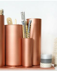 Shake My Blog | Des pots à crayons cuivrés DIY