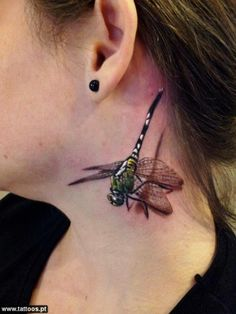 Neck 3D Dragonfly Tattoo