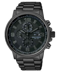 Citizen Eco-Drive Nighthawk Black Ion Plated Stainless Steel Bracelet Watch