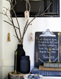 thankful tree- soak paper tags in coffee - I like the clip board painted with chalkboard paint.