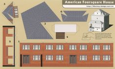 American Foursquare House - Cut Out Postcard 3d Paper Art, Paper Crafts, Diy Paper, Building Design, Building A House, Four Square Homes, House Template, Putz Houses, Glitter Houses