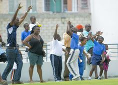 Scotiabank Kiddy Cricket Festival Barbados Leg: These kids celebrates with their supporters on the boundary ropes.