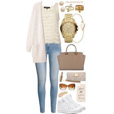 Laid-back white sneakers outfit by cherrysnoww on Polyvore featuring Topshop, H&M, Pastry, MICHAEL Michael Kors, Michael Kors, MARC BY MARC JACOBS, Kate Spade, Oliver Peoples and Yves Saint Laurent