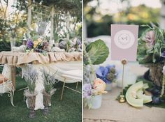 These table numbers are so very pretty; soft lavender cards with the table numbers framed by a lovely wreath.