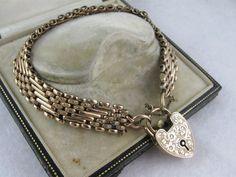 Antique Victorian engraved fancy heart padlock bracelet, unusual, 9K rose gold. $475