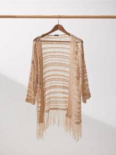 Ażurowe kimono z frędzlami, HOUSE, ZJ416-01X I Love House, Crochet Cardigan, Cardigans, Kimono Top, Blazer, Tops, Women, Fashion, Moda