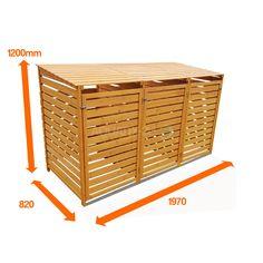 Wooden Bin Storage Shed 3 Wheelie Dustbin Rubbish Outdoor Garden Patio Furniture for sale online Triple Wheelie Bin Storage, Garbage Can Storage, Garbage Shed, Storage Bins, Storage Spaces, Recycling Storage, Diy Storage, Storage Containers, Storage Ideas